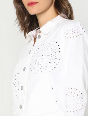 White Cut Work Denim Jacket