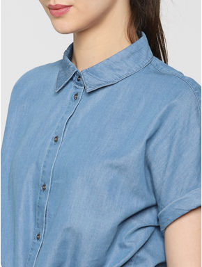 Blue Front Knot Detail Denim Shirt