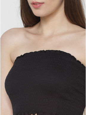 Black Smock Cropped Tube Top