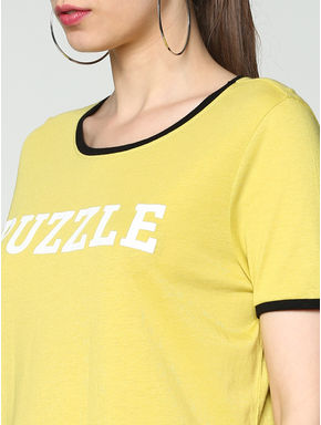 Yellow Text Print Contrast Tipping T-shirt