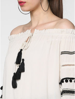 Off-White Pom Pom Detail Off Shoulder Top