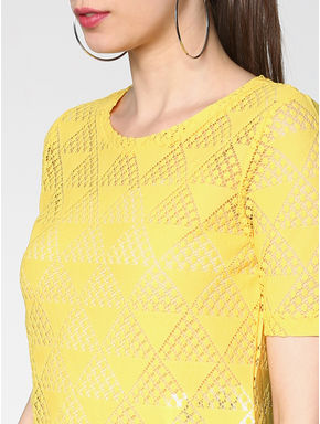 Yellow Geometric Cut Work Top