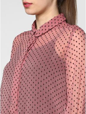 Pink All Over Polka Dot Print Sheer Shirt