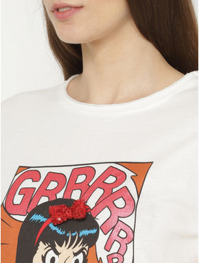 X Archie White Veronica Graphic Print T-shirt