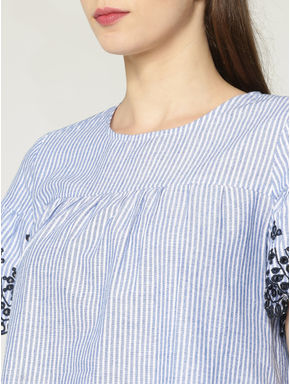 Blue Striped Cut Work Embroidery Top
