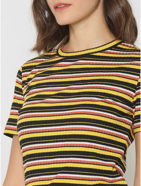 Yellow Striped Ribbed T-Shirt