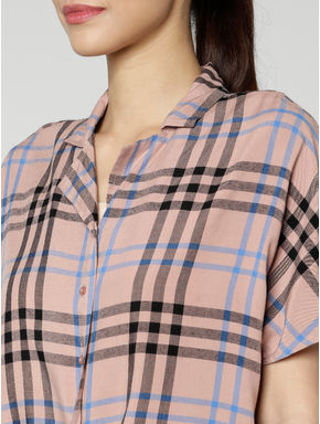 Pink All Over Check Print Front Knot Cropped Shirt