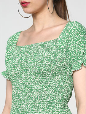 Green Floral Print Smock Cropped Top