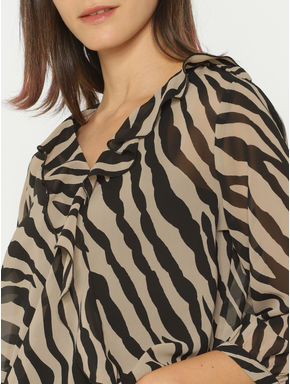 Brown Animal Print Sheer Cropped Top