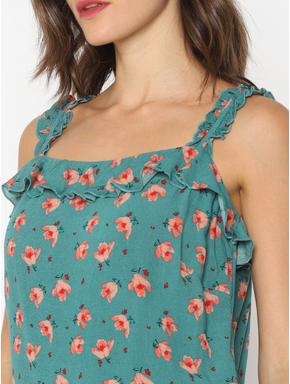 Green Floral Print Ruffle Top