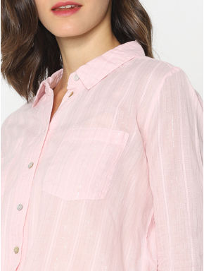 Pink Striped Front Knot Shirt