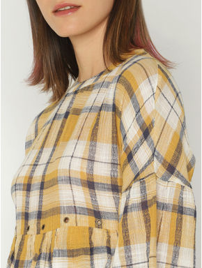 White and Yellow Check Rivet Detail Layered Top
