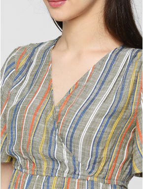 Green Multicoloured Striped Top