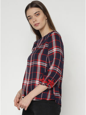 Navy Blue Check Embroidered Top