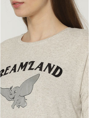 Cream Graphic and Text Print Cropped T-shirt