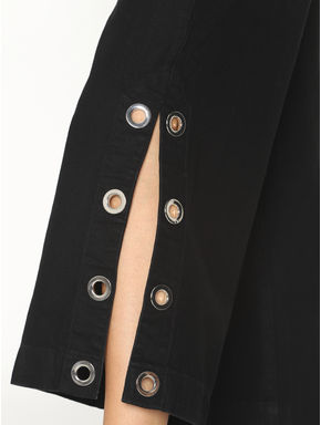 Black Mid Rise Rivet Detail Denim Culottes