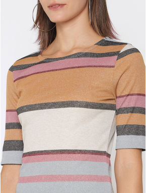 Brown Colour Blocked Shimmer T-Shirt