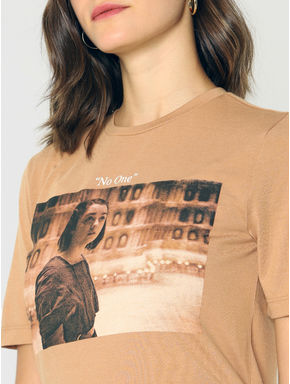 X GOT Beige Arya Graphic Print T-shirt