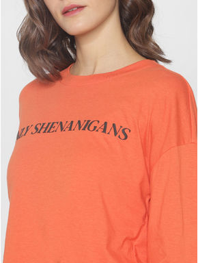 ft Ananya Panday Orange Text Print T-shirt