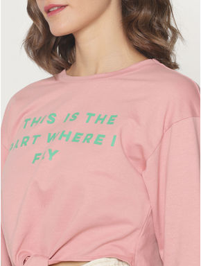 ft Ananya Panday Pink Text Print Sweatshirt