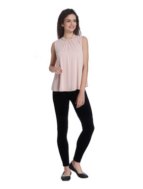 Pink Ruffle Neck Top