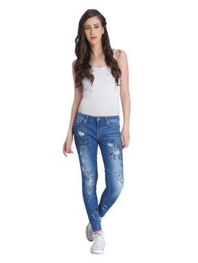 Blue Graffiti Print Skinny Jeans