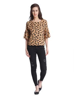Leopard Print Ruffle Sleeves Brown Top