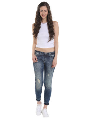 Blue Low Rise Ripped Cropped Skinny Jeans