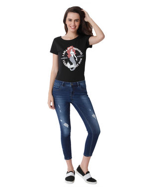 Blue Mid Rise Low Distressed Regular Fit Jeans