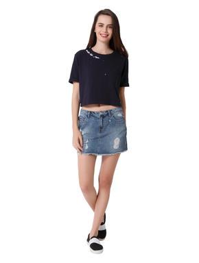 Blue Distressed Denim Mini Skirt