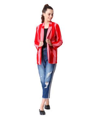 Pink & Red Striped Long Blazer