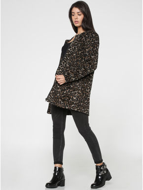 Black Leopard Print Long Jacket