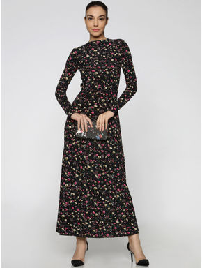 Black All Over Floral Print Maxi Dress