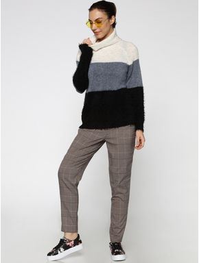 White Striped Colour Blocked High Neck Pullover