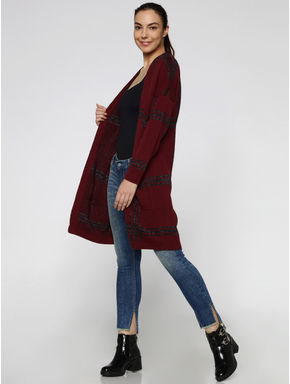 Maroon Shimmer Checks Long Cardigan