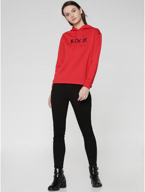 Red Rock Text Print Hooded Sweatshirt
