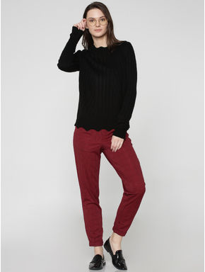 Black Mid Rise Checks Regular Fit Pants