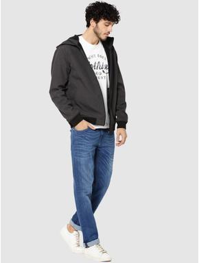 Grey Text Print Hooded Jacket
