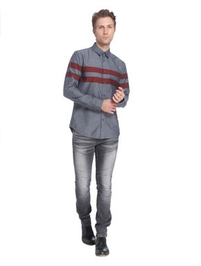 Grey Shirt with Red Stripes