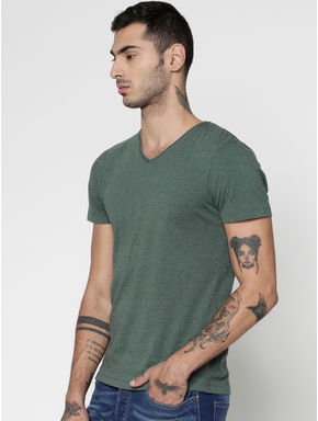 Green Slim Fit V-Neck T-Shirt
