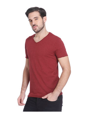 Maroon Slim Fit V-Neck T-Shirt