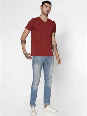 Pink Slim Fit V-Neck T-Shirt