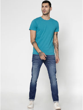 Azure Blue Slim Fit Crew Neck T-Shirt