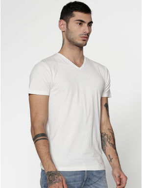 White Slim Fit V-Neck T-Shirt