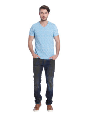 Light Blue Printed V-Neck T-Shirt