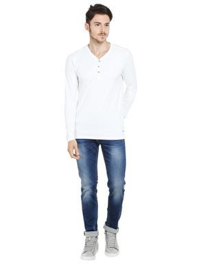 White Slim Fit Henley T-Shirt