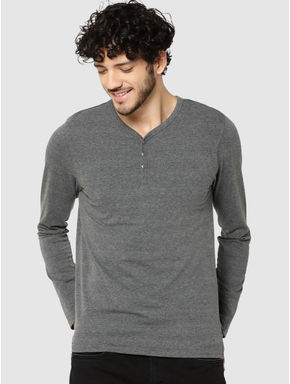 Grey Full Sleeves Henley T-Shirt
