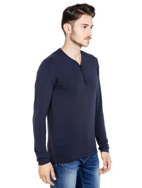 Black Slim Fit Henley T-Shirt