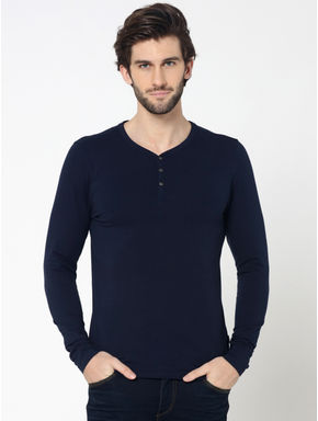 Dark Blue Full Sleeves Henley T-Shirt