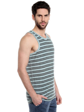 Turquoise Striped Tank Top
